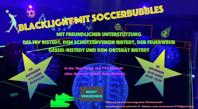 blacklight- und soccerbubbles Abend